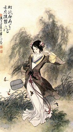 Lady holding a basho fan, in the garden Chinese painting Traditional Japanese Art, Traditional Paintings, Japanese Painting, Chinese Painting, Chinese Drawings, Art Drawings, Geisha Art, Art Asiatique, Art Japonais