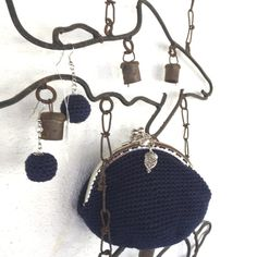 Crochet coin purse clic clac and matching earrings от JustForYouhm