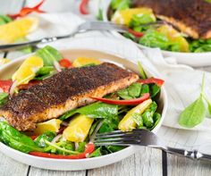 Check out my comprehensive post on How to Make Blackened Salmon + a wonderful spinach, orange, and red onion salad which combines with it perfectly! | yummyaddiction.com