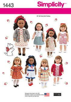 Simplicity One Size -Crafts Doll Clothes