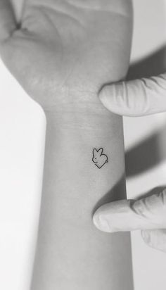 Heart Bunny Wrist Tattoo
