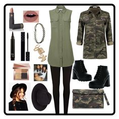"""""""Camo: Contest Entry"""" by haybeebaby on Polyvore featuring River Island, Equipment, Bamboo, Gucci, Bobbi Brown Cosmetics, Lipstick Queen, Topshop, ASOS and camostyle"""