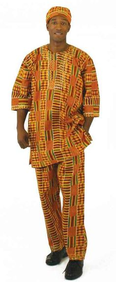 """Turn up the culture! For a look that brings African style to any man or woman, this kente pant set is essential. Soft, roomy feel made with 100% rayon. Fits up to a 48-52"""" chest, 35"""" shirt length, 54-56"""" drawstring waist and 28"""" inseam (42"""" hip to hem)"""
