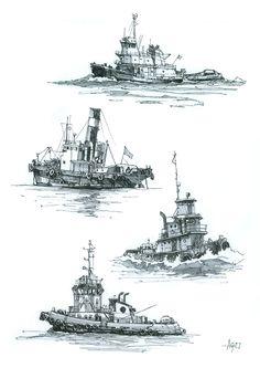 Tug boats - Folksy Tug Boats, Sketch, Prints, Painting, Sketch Drawing, Painting Art, Sketches, Paintings, Painted Canvas