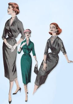 Butterick Pattern 8057 Misses' Dress Pattern Quick and Easy Design From 1957 Complete Nice Condition Lots of Uncut Pattern Pieces Counted. Size 12 Bust) We Sell the Best Ori Vintage Sewing Patterns, Clothing Patterns, Sewing Ideas, 1950s Fashion, Vintage Fashion, Vintage Style, Moda Vintage, Vogue Patterns, Old World Charm