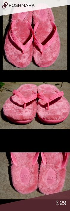 "UGG fur thong sandals flip flops 8W Bundle=20% OFF CUTE UGG fur thong flip flops size 8W! Uppers good condition. Bottom soles have normal signs of wear. Bundle 2 or more items and save 20%!! OR make me a reasonable offer via the ""Offer"" button! UGG Shoes Sandals"