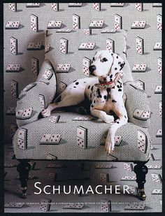 2002 Schumacher Fabric Playing Cards Dalmatian Dog Ad