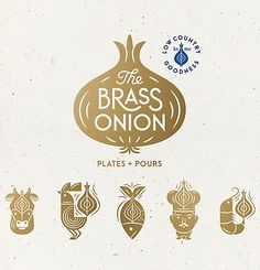 The Brass Onion Brand Identity, Packaging & Interior Direction by Carpenter Collective - Grits & Grids® Brand Identity Design, Branding Design, Logo Design, Food Branding, Food Logos, Identity Branding, Corporate Identity, Communication Art, Restaurant Branding