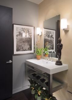 Badezimmer Deko für asiatische Atmosphäre-Zimmerpflanzen und Figuren