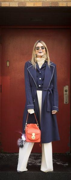 NYFW Street Style: Helena Bordon enjoying her Drawstring Ralph Lauren Ricky Bag in between fashion shows.