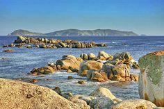 Ons Island from Pedras Negras in O Grove Pontevedra Galicia Spain