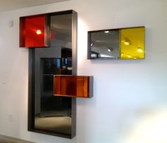 Mirror Installation: handmade frames in steel and mirrors: Gey, yellow, orange #FrancoiseTurnerLarcade #FragmentedMirror
