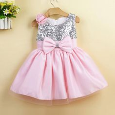 Pink knee length silver sequin flower girl by DressourPrincess fdee064436