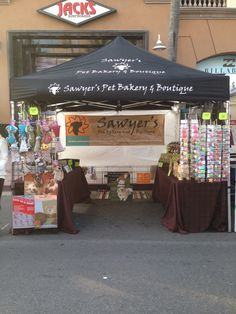 Surf City Nights Street Fair and Farmers Market in Huntington Beach CA. Sawyer's Pet Bakery booth Tuesday nights 5-9pm