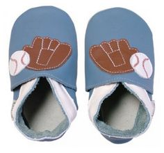 Denim Blue Baseball Bobux USA Soft Soles. Play Ball! This Denim blue leather baby shoe is made from Bobux's Eco-leather and features Bobux's original ankle elastic system. It is decorated with a mitt and baseball. www.bobuxusa.com