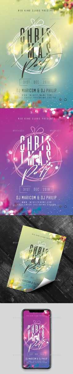 Buy Christmas Night Party Flyer by on GraphicRiver. Features 2 Color Options High Quality Design Images are Smart Object Easy Editable Text CMYK @ 300 DPI Print-Ready Or. Christmas Night, Christmas Balls, Xmas, Christmas Flyer Template, Club Parties, Party Flyer, 2 Colours, Print Design, Templates