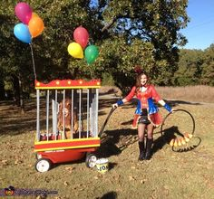 Angela: The ring leader is my 13 year old daughter Makenna and the lion is my 2 year old son Khoen. My dad built the lion cage over our wagon and. Wagon Halloween Costumes, Halloween Costume 1 Year Old, Wagon Costume, Family Costumes, Halloween Kids, 1 Year Old Costumes, Circus Family Costume, Circus Birthday, Diy