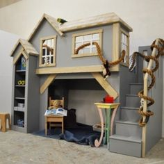 kids furniture Custom kid furniture, Spankys clubhouse, gender neutral kids indoor playhouse bunk bed with staircase and shelves