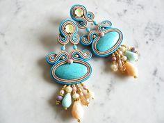 Soutache Earrings, Handmade Earrings, Hand Embroidered, Soutache Jewelry, Handmade from Italy, OOAK --------------------------------------- Boho