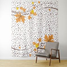 Maple leaves orange and brown polka dots tapestry  $63.28  by zazzleproducts1  - cyo customize personalize unique diy idea