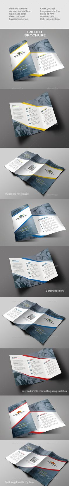 Simple Trifold Brochure Template InDesign INDD. Download here: http://graphicriver.net/item/simple-trifold-brochure/14936993?ref=ksioks