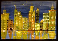 Cityscape....Very pretty! Watercolor bkgd, used strips of cardboard to drag stripes for buildings, stamp windows, reflection, marker for details