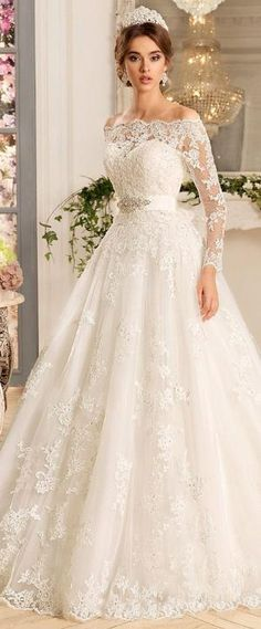 Glamorous Tulle & Satin Off-the-shoulder Neckline A-Line Wedding Dresses With Beaded Lace Appliques by lori