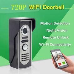 Wifi Videoportero Inalámbrico de Intercomunicación de Vídeo Con Timbre Timbre de la Puerta Con tarjeta de 8 GB TF Y Música Soporte APP Android IOS