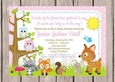 woodland animals baby shower invitations | Printable- Woodland Animals…