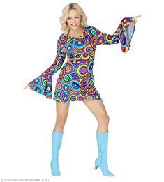 Blaues 70er Jahre Herrenhemd Bubbles als Kostümzubehör