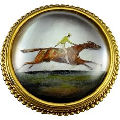 Antique Victorian Essex Crystal Racing Horse Panel 18 k yellow gold brooch