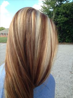 Fall colors in blond hair. nice contrast of varying caramels amongst blonde