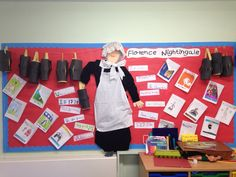 My own Florence Nightingale display. We drew around a child for Florence. Before starting the topic, the children asked questions which they wanted to find out about Florence. We tuck them around her and then put up the answers when we found them out. This History topic was mainly linked to English where the children wrote information booklets.