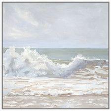 Atlantic Wave Burst Gray Framed Canvas Print