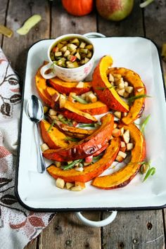 Roasted Hokkaido Pumpkin Wedges with Apple Vinaigrette  omg...so yum for the autumn...make as tabu side!! Think...Thanksgiving Dinner side as well!