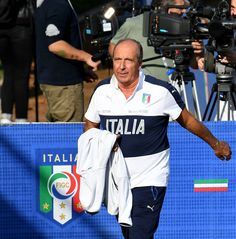 Head coach Giampiero Ventura looks on prior to the training session at the club's training ground at Coverciano on October 3, 2016 in Florence, Italy.