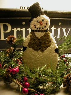 Primitive Folkart HooKed Rug Snowman Pattern by Rue23Paris on Etsy