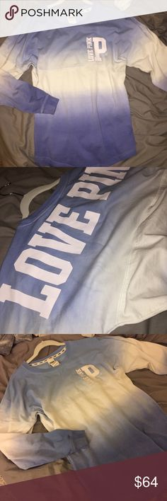 Rare ombré crew Rare LOVE PINK white and blue ombré crew in perfect condition. Size xs but as always the fit runs large so if you are a small or medium it would fit as well. Beautiful crew with everything including the letters in very high quality material. By far best design by PINK, selling for a friend. No trades PINK Victoria's Secret Tops Tees - Long Sleeve