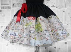 Fabulously Unique Rooby Lane London Map skirt.    It is made with a heavy printed cotton. LIMITED AVAILABILITY    This is a lovely full skirt and opens