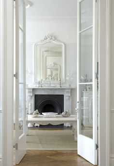 Pure white and deliciously French in styling - Rococo mirrors & Louis furniture - The Paper Mulberry: Perfectly Pale
