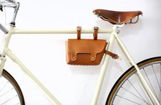 Small Brown Leather Saddle Bicycle Bag / fahrrad tasche / Handlebar Bag / Bike Bag via Etsy
