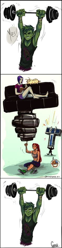 Gym buddies by Gretlusky on DeviantArt - Poor Beast Boy, only muscles to lift with