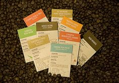 A simple way to differentiate different varietals and roast profiles. Packed with data about coffee and region but not heavy handed