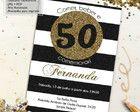 Convite Aniversário 50 anos Glitter