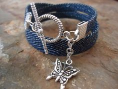 JEANS fabric wrap bracelet with butterfly. $7.90, via Etsy.