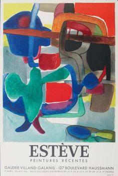 Affiche Expo. Maurice Estève, 1957, 64 x 43 cm, Tirage à 1000 épreuves Mourlot Imp