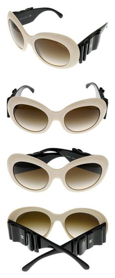ee40304af291e Amazon.com  Chanel Sunglasses Womens Cream Black Round CH5282Q 528 S5   Clothing