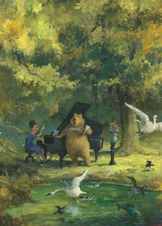 Solo in the woods with piano accompaniment