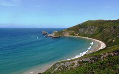 Playa de Torimbia. 500 mts de longitud por 100 mts de anchura, con forma de concha casi perfecta, formando parte del paisaje protegido de la costa oriental.
