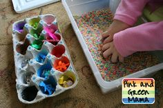 Sensory bin ideas for toddlers.